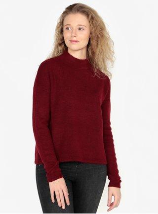 Vínový dámský svetr se stojáčkem QS by s.Oliver