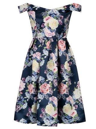 Tmavě modré květované šaty s odhalenými rameny Mela London