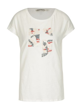 Tricou crem cu aplicatii pentru femei - Garcia Jeans