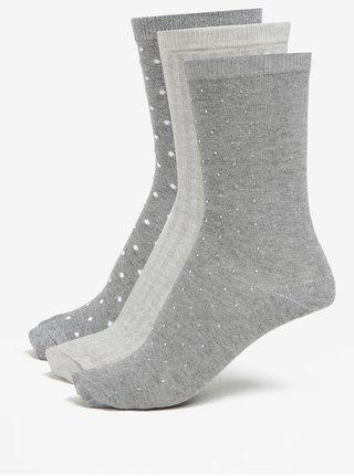 Sada troch párov ponožiek v sivej a krémovej farbe Oasis Sparkle