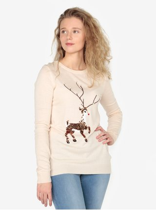 Béžový tenký sveter s motívom jeleňa z flitrov Oasis Xmas
