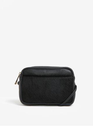 Geanta crossbody neagra din piele cu blana artificiala Oasis Camera