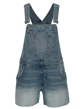 Salopeta scurta albastra din denim cu aspect prespalat - Cheap Monday