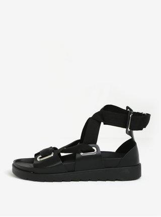 Čierne kožené sandále Pieces Mariella