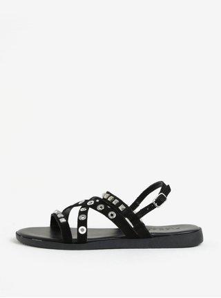 Čierne semišové sandále Pieces Nantale