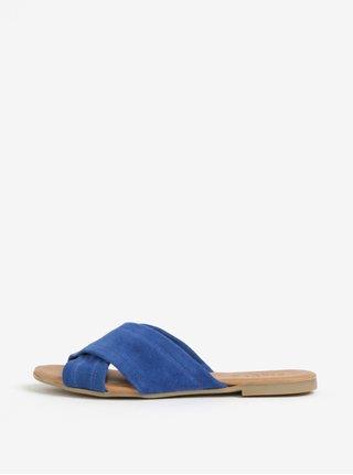 Modré semišové pantofle Pieces Marnie