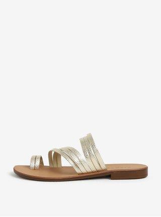 Sandale aurii cu barete subtiri din piele Pieces Mavis