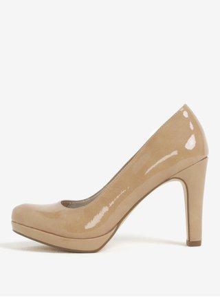 Pantofi cu toc maro deschis cu aspect lacuit Tamaris