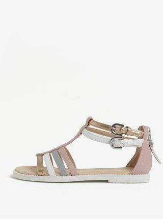 Bielo-ružové dievčenské sandáliky Geox Karly