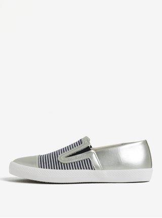 Pantofi slip-on argintii in dungi pentru femei Geox Giyo