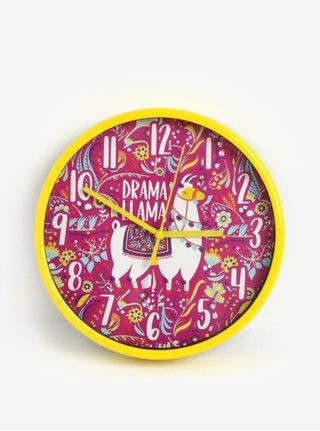 Růžovo-žluté holčičí nástěnné hodiny s motivem lamy SIFCON