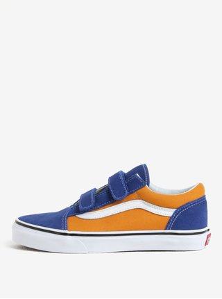 Oranžovo-modré chlapčenské semišové tenisky VANS Old Skool