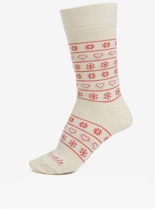 Červeno-krémové unisex ponožky so vzorom Fusakle Zima na dedine