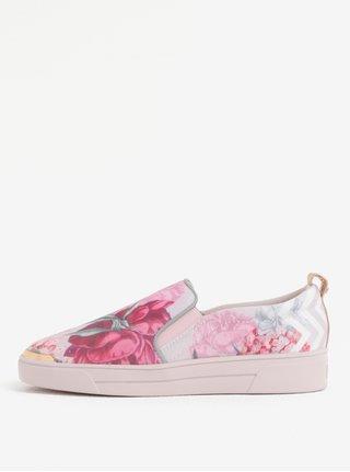 Růžové dámské květované slip on na platformě Ted Baker Tancey