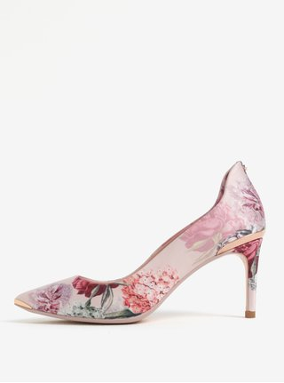 Světle růžové květované lodičky do špičky Ted Baker Vyixynp 2