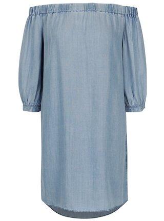 Modré džínové šaty s odhalenými rameny ONLY Janice