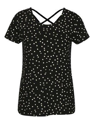 Tricou negru cu print si snur incrucisat la spate ONLY Bera