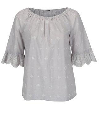 Bluza gri cu broderie sparta si maneci clopot M&Co