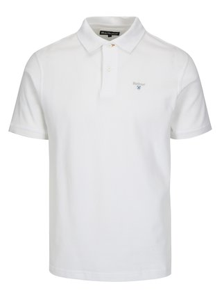 Tricou polo alb cu logo brodat - Barbour Sports