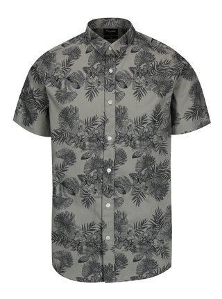 Šedá vzorovaná slim fit košile s krátkým rukávem ONLY & SONS Nelson