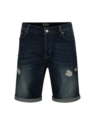 Tmavě modré džínové kraťasy s potrhaným efektem ONLY & SONS Ply