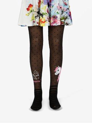 Černé holčičí puntíkované punčocháče s motivem jednorožce Penti Pretty Unicorn 30 DEN