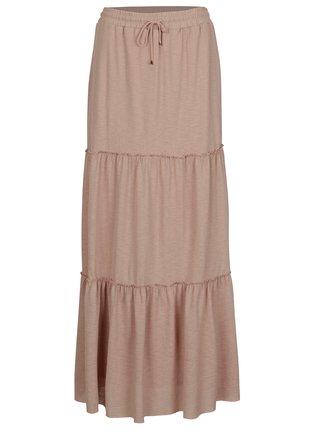 Starorůžová třpytivá maxi sukně VILA Petra