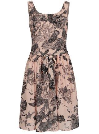 Svetloružové kvetované šaty s tylovou spodničkou Smashed Lemon