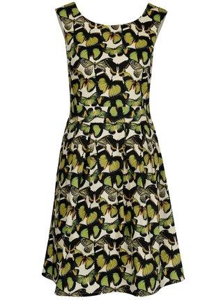 Krémovo-zelené áčkové šaty so vzorom motýľov Smashed Lemon