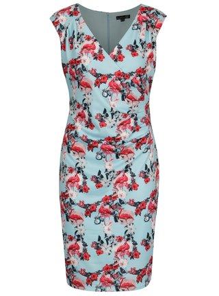 Ružovo-modré puzdrové šaty s prekladaným výstrihom Smashed Lemon