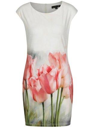 Krémové puzdrové šaty s tulipánmi Smashed Lemon