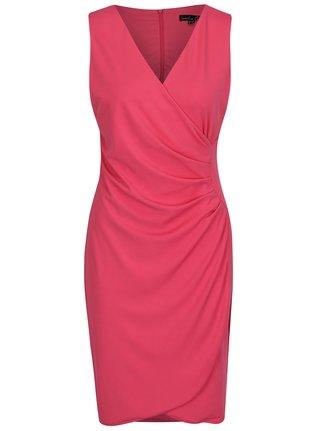Ružové šaty s prekladaným výstrihom a nazberkaním na boku Smashed Lemon