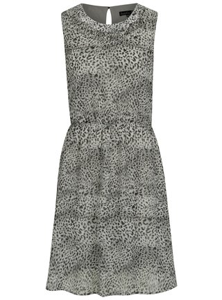 Světle šedé šaty s leopardím vzorem Smashed Lemon