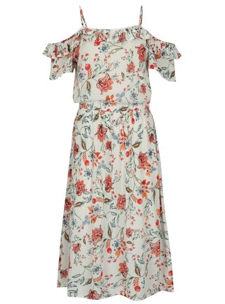 Krémové šaty s odhalenými ramenami Dorothy Perkins
