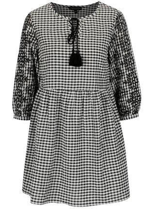 Krémovo–čierne vzorované minišaty s výšivkou Dorothy Perkins