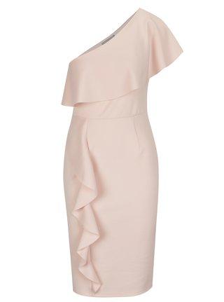 Růžové asymetrické šaty s volány Dorothy Perkins Petite