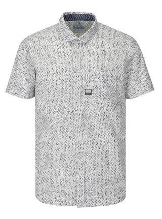 Šedo-bílá pánská vzorovaná slim fit košile s.Oliver