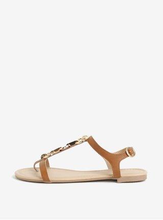 Hnedé koženkové sandále Dorothy Perkins
