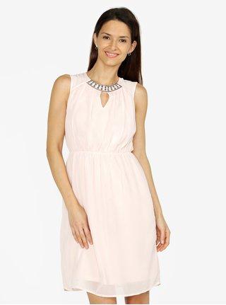 Svetloružové šaty s korálkovou výšivkou VERO MODA Wam