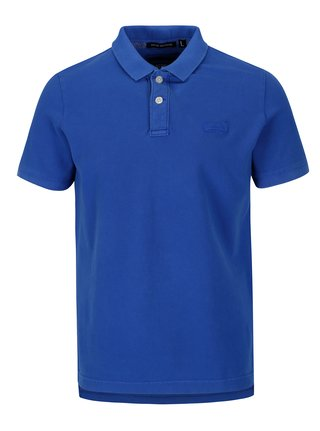 Tricou polo albastru cu logo brodat pentru barbati - Superdry
