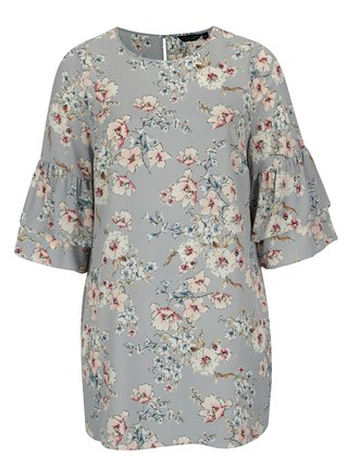c34efceaa7bb Svetlomodré kvetované šaty s volánmi Dorothy Perkins Curve