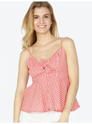 Top rosu & alb cu model carouri - VERO MODA Luna