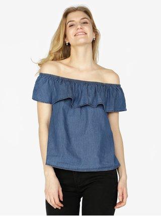 Bluza albastra din denim cu decolteu amplu pe umeri - VERO MODA Emilia