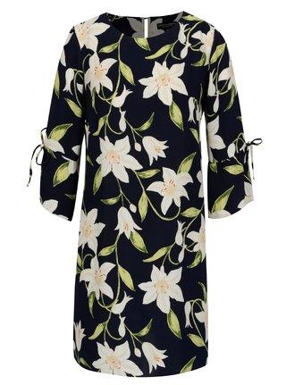 Rochie bleumarin cu print floral si maneci 3/4 Dorothy Perkins