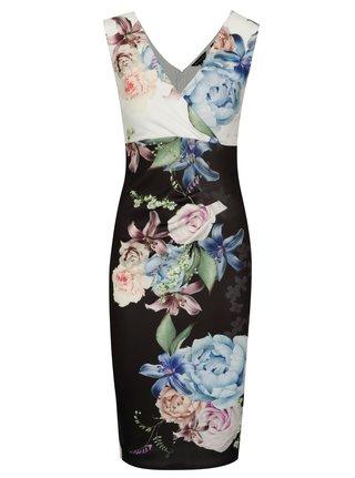 Rochie bodycon cu print floral si decolteu suprapus negru & alb - Scarlett B