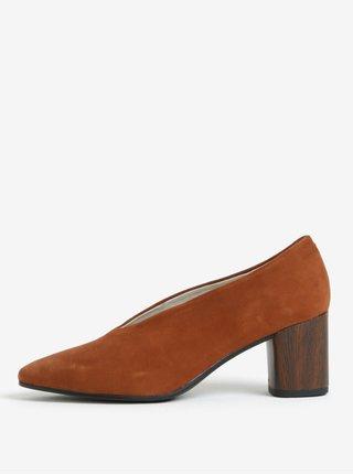 Pantofi maro retro din piele naturala intoarsa - Vagabond Eve