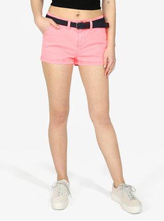 Pantaloni scurti roz din denim cu curea in talie - Superdry