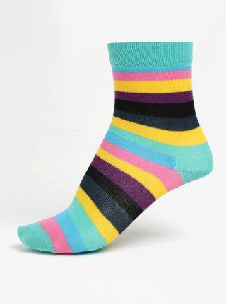 Růžovo-zelené dětské pruhované ponožky Happy Socks Stripe