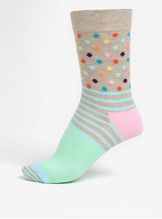 f086415c27c Zeleno-béžové dámské vzorované ponožky Happy Socks Stripes Dots