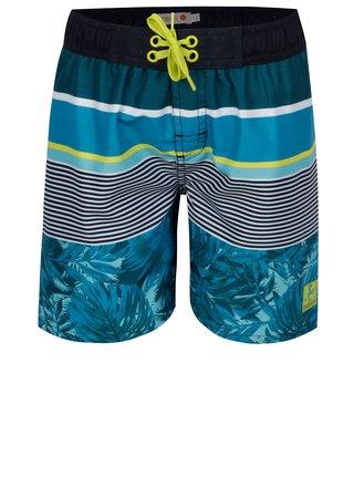 Tyrkysové chlapčenské pruhované plavky s potlačou BÓBOLI